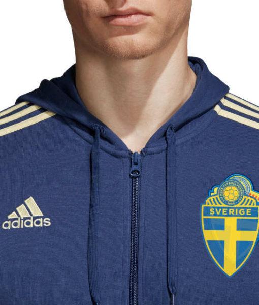 adidas スウェーデン 2018 3ストライプ フルジップ パーカー Blue