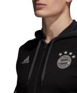 adidas バイエルン ミュンヘン 2018/19 3ストライプ フルジップ パーカー Black