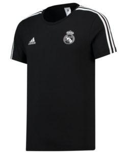 adidas レアルマドリード 2018/19 3ストライプ Tシャツ Black
