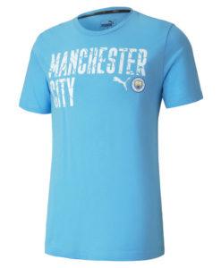 PUMA マンチェスターシティ 2020/21 フットボール ロゴ Tシャツ Blue
